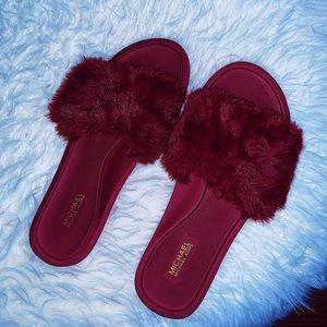 Wine/Cabernet Red Michael Kors Furry Slides